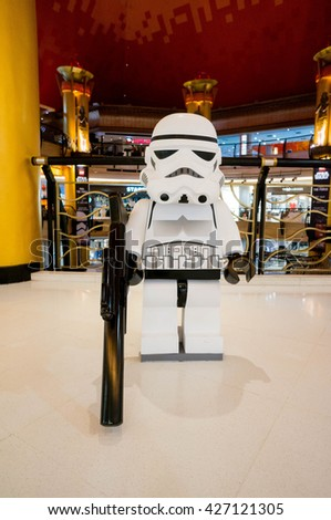 KUALA LUMPUR, MALAYSIA - MAY 27, 2016: Lego Star Wars figure at Sunway Pyramid. The Lego figure was build by Lego Fans of Malaysia group during Feel the Force promotion. - stock photo