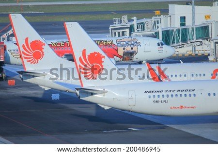 KUALA LUMPUR MALAYSIA - 26 May, 2014:Lion Air Airplanes at KLIA2 airport.Lion Air is Indonesia�s largest privately run airline.