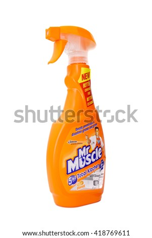 KUALA LUMPUR, MALAYSIA - MAY 12, 2016 : Mr Muscle Kitchen Cleaner isolated on white background.  - stock photo