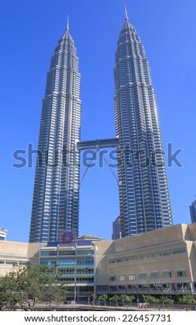 KUALA LUMPUR MALAYSIA - 25 May, 2014: Petronas twin towers.Kuala Lumpur is the cultural, financial and economic centre of Malaysia.  - stock photo