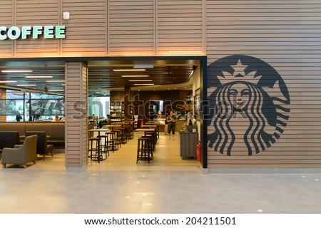 KUALA LUMPUR, MALAYSIA-MAY 06: Starbucks Cafe interior on May 06, 2014 in Kuala Lumpur, Malaysia. Starbucks Corporation is an American global coffee company and coffeehouse chain based in Seattle. - stock photo