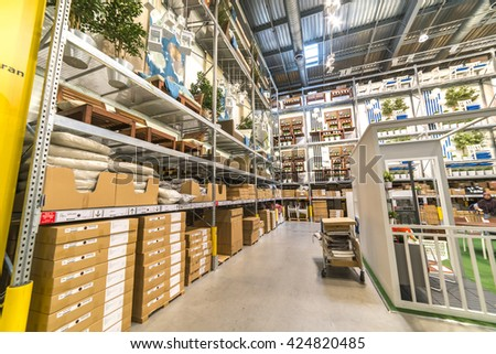 KUALA LUMPUR, MALAYSIA - MAY 22, 2016: Warehouse storage in an IKEA store. Founded in 1943, IKEA is the world's largest furniture retailer. IKEA operates 351 stores in 43 countries. - stock photo