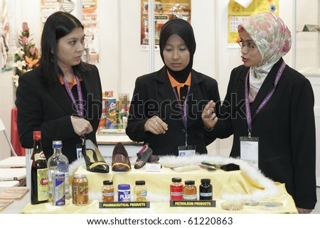 KUALA LUMPUR, MALAYSIA - MEI 18 : A group of young researcher in depth discussion during the 6th World Islamic Economic Forum (WIEF) Mei 19, 2010 in Kuala Lumpur Malaysia. - stock photo