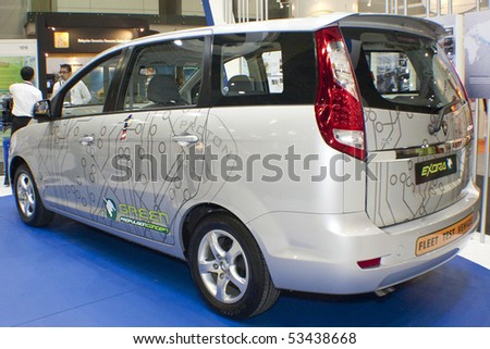 KUALA LUMPUR, MALAYSIA - MEI 19 : Side view of the Proton Exora Hybrid prototype which is on display during the 6th World Islamic Economic Forum (WIEF) Mei 19, 2010 in Kuala Lumpur Malaysia. - stock photo