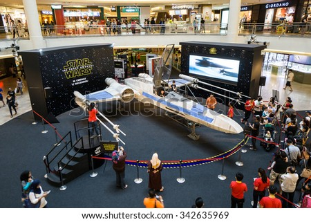 KUALA LUMPUR, MALAYSIA - NOV, 2015 : A life sized X-wing fighter replica being displayed in Mid Valley taken on 23 November 2015. Star Wars: The Force Awakens premieres on 17th December 2015. - stock photo