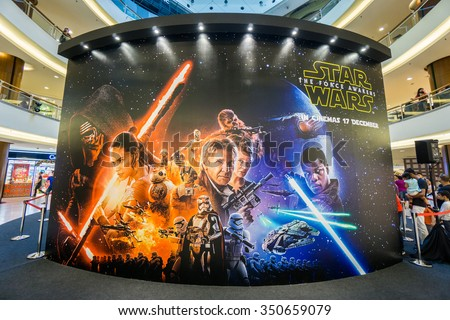 KUALA LUMPUR, MALAYSIA - NOV, 2015 : A wall sized Star Wars poster displayed during a roadshow in Mid Valley taken on 23 November 2015. Star Wars: The Force Awakens premieres on 17th December 2015. - stock photo