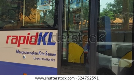 KUALA LUMPUR, MALAYSIA - NOV 28TH, 2016 : Close image of RapidKL bus. RapidKL  is a service brand used by Prasarana Malaysia to refer the public transportation services for Klang Valley area.