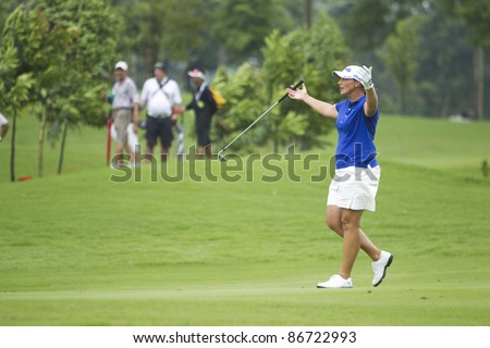 KUALA LUMPUR, MALAYSIA - OCTOBER 16: American Angela Stanford gestures after a bad shot to green on the final day of Sime Darby LPGA Golf October 16, 2011 in Kuala Lumpur, Malaysia.
