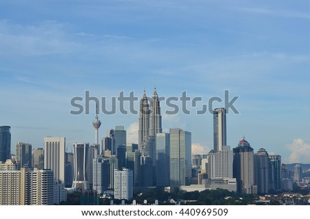 KUALA LUMPUR, MALAYSIA - OCTOBER 17, 2015: Cloudscape view of the Petronas Twin Towers at KLCC City Center. The most popular tourist destination in Malaysian capital