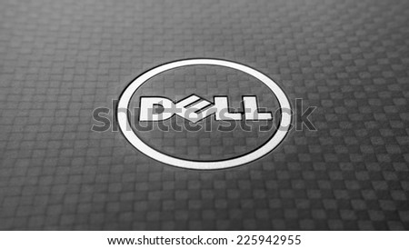 Kuala Lumpur, Malaysia - October 26 2014: Dell logotype closeup of Latitude notebook. Dell Inc. is an American multinational computer technology company that develops, sells and repairs computers. - stock photo