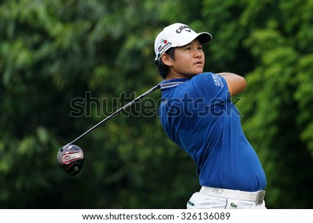 KUALA LUMPUR, MALAYSIA - OCTOBER 10, 2015: Taiwan's Yani Tseng tees off at the sixth hole of the KL Golf & Country Club on Round 3 day at the 2015 Sime Darby LPGA Malaysia golf tournament. - stock photo