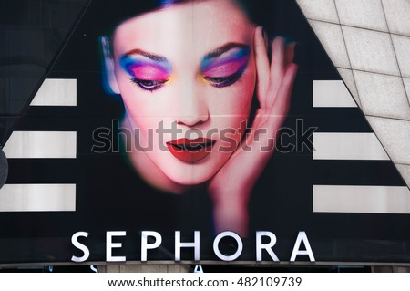 KUALA LUMPUR, MALAYSIA - SEPTEMBER 10, 2016: Futuristic design of Sephora shop in Kuala Lumpur. Sephora is a cosmetics stores base in Paris, France since 1970.