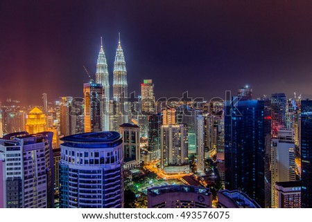 KUALA LUMPUR, MALAYSIA - 23 SEPTEMBER 2016 : Kuala Lumpur is the capital and the largest city of Malaysia. This image may contain noise and blurry clouds due to long exposure