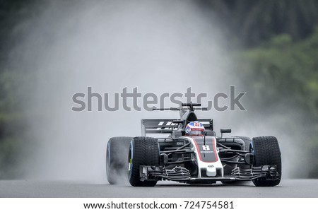 KUALA LUMPUR, MALAYSIA - SEPTEMBER 29, 2017 : Romain Grosjean of France driving the (8) Haas F1 Team on track during practice for the Malaysia Formula One Grand Prix at Sepang Circuit