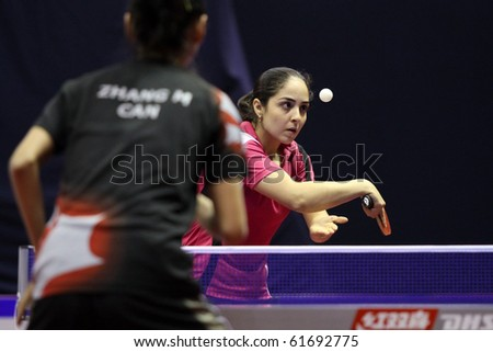 KUALA LUMPUR, MALAYSIA - SEPTEMBER 24: Yadira Silva, Mexico in action against Zhango Mo, Canada at the Volkswagen 2010 Women's World Cup in table tennis on September 24, 2010 in Kuala Lumpur.