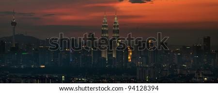 Kuala Lumpur Malaysia Skyline at Sunset Panorama - stock photo