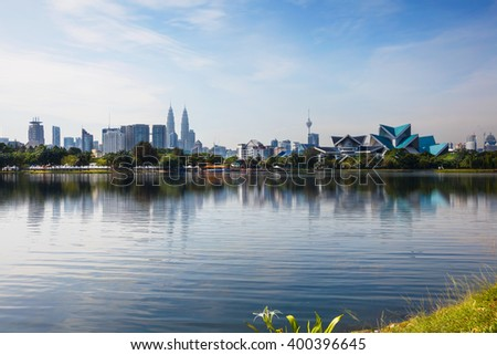 Kuala lumpur malaysia skyline at titiwangsa park - stock photo