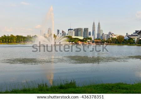 Kuala Lumpur, Malaysia skyline at Titiwangsa Park. - stock photo