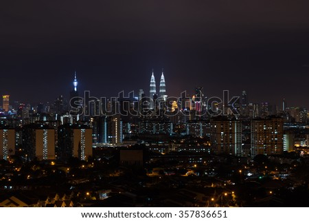 KUALA LUMPUR, MALAYSIA - 31ST DECEMBER 2015; Kuala Lumpur, the capital of Malaysia. Its modern skyline is dominated by the 451m-tall KLCC, a pair of glass-and-steel-clad skyscrapers.