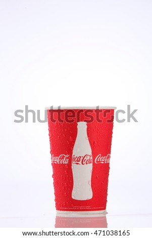 Kuala Lumpur,Malaysia,8th Aug 2016,Paper cups of Coca-Cola. Coca-Cola is a carbonated soft drink sold in stores, restaurants, and vending machines throughout the world