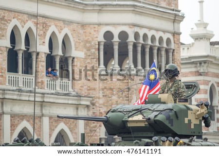 KUALA LUMPUR, MALAYSIA - 29th AUGUST 2016 ; Merdeka Day celebration is held in commemoration of Malaysia's Independence Day, during rehearsal at Dataran Merdeka Kuala Lumpur, Malaysia