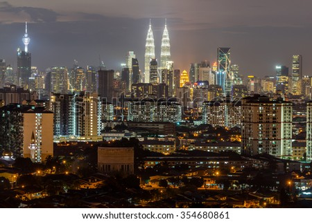 KUALA LUMPUR, MALAYSIA - 14TH DECEMBER 2015; Kuala Lumpur, the capital of Malaysia. Its modern skyline is dominated by the 451m-tall KLCC, a pair of glass-and-steel-clad skyscrapers.