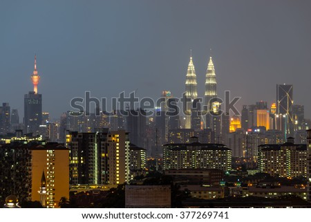 KUALA LUMPUR, MALAYSIA - 14TH FEBRUARY 2016; Kuala Lumpur, the capital of Malaysia. Its modern skyline is dominated by the 451m-tall KLCC, a pair of glass-and-steel-clad skyscrapers.