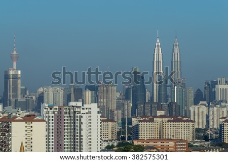 KUALA LUMPUR, MALAYSIA - 27TH FEBRUARY 2016; Kuala Lumpur, the capital of Malaysia. Its modern skyline is dominated by the 451m-tall KLCC, a pair of glass-and-steel-clad skyscrapers.