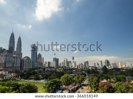 KUALA LUMPUR, MALAYSIA - 11TH JANUARY 2016; View of downtown Kuala Lumpur, Malaysia (called simply KL by locals). KL is a busy city with skyscrapers,colonial architecture and lots of greenery.
