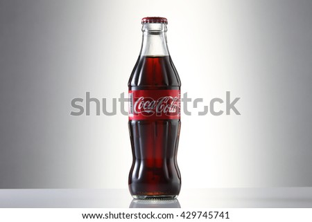 Kuala Lumpur, Malaysia 23th May 2016, Coca-Cola Classic in a glass bottle Isolated on white Background. Coca Cola, Coke is the most popular carbonated soft drink beverages sold around the world - stock photo