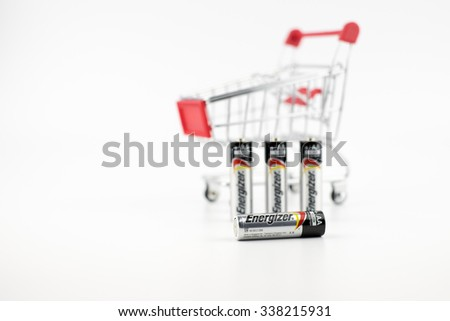 KUALA LUMPUR, MALAYSIA - 11th November 2015. Used Energizer AA batteries with Shopping cart. Energizer Holdings is an American manufacturer of batteries and are sold in over 165 countries worldwide - stock photo