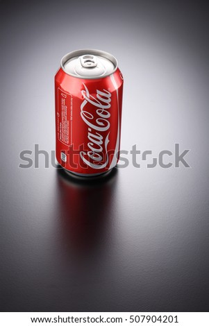 Kuala Lumpur, Malaysia 26th Oct 2016,coca cola can drink on the gray background