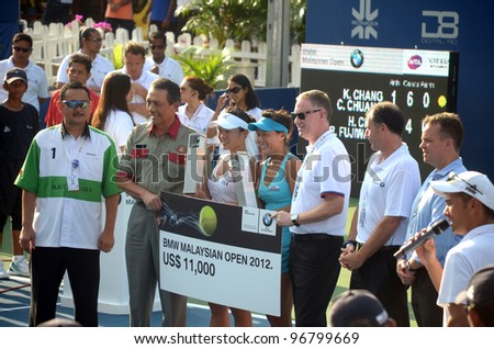 KUALA LUMPUR - MARCH 4:Chang Kai Chen and Chuang Chia jung of Chinese Taipei won their doubles final match in Kuala Lumpur, Malaysia on March 4, 2012 They win a prize of US$ 11,000.