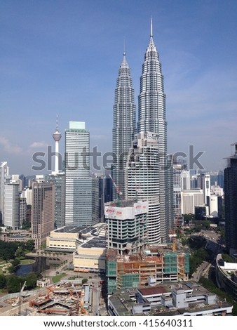KUALA LUMPUR - MAY 4, 2016: Kuala lumpur skyline can again be seen with blue sky after weeks of hazy air polluted the city