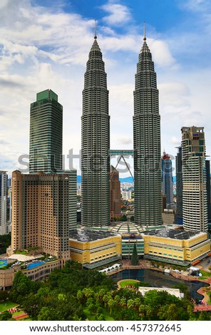 "KUALA-LUMPUR - NOVEMBER 28: ""Petronas Twin towers"" on November 28, 2015 in Kuala Lumpur, Malaysia. ""Petronas towers"" were tallest in the world from 1998 to 2004 and remain the tallest twin towers."