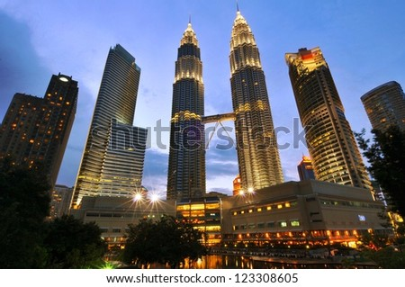 KUALA LUMPUR-OCT-20-2012:View of The Petronas Twin Towers at night on October 20, 2012 in Kuala Lumpur, Malaysia.Petronas Twin Towers are twin skyscrapers and were tallest twin buildings in the world.