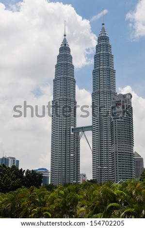 KUALA LUMPUR - OCTOBER 10: The Petronas Towers in Kuala Lumpur photographed on October 10, 2009.  The towers were the tallest buildings in the world from 1998 to 2004. - stock photo