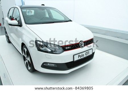 KUALA LUMPUR - SEPT 10: Front view of VW POLO GTI at the Volkswagen Das Auto Show 2011 on SEPTEMBER 10, 2011 in Kuala Lumpur, Malaysia. This event is a promotion for latest Volkswagen models - stock photo