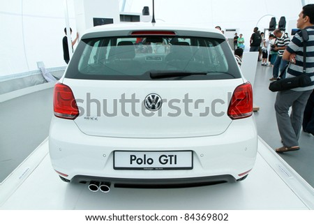 KUALA LUMPUR - SEPT 10: Rear view of VW POLO GTI at the Volkswagen Das Auto Show 2011 on SEPTEMBER 10, 2011 in Kuala Lumpur, Malaysia. This event is a promotion for latest Volkswagen models - stock photo