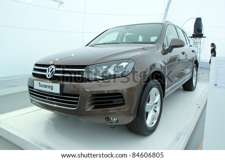 KUALA LUMPUR - SEPT 10: VW Touareg on display at the Volkswagen Das Auto Show 2011 on SEPTEMBER 10 2011 in Kuala Lumpur, Malaysia. This event is a promotion for latest Volkswagen models