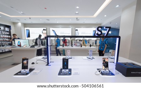 KUALA LUMPUR - SEPTEMBER 13, 2016: Samsung Galaxy S7 Edge phones for sale in the Suria KLCC mall. They are Android smartphones manufactured and marketed by Samsung Electronics.