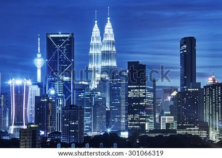 Kuala Lumpur skyline at night - stock photo
