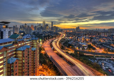 Kuala Lumpur skyline during sunset with AKLEH highway shoot from Jelatek