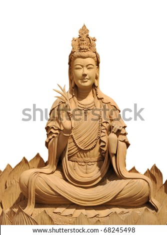 Kuan Yin. isolate Handicraft wood Thep the holy angels of benign Bring good fortune to mankind. - stock photo