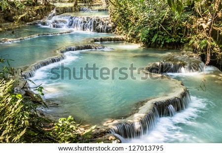 Kuang Si Falls - Waterfalls at Luang Prabang, Laos - stock photo