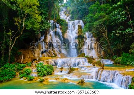 Kuang si water fall in Luang prabang,Laos. - stock photo