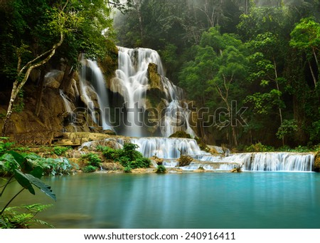 Kuang Si Waterfall is the most beautiful waterfall near Luang prabang - stock photo