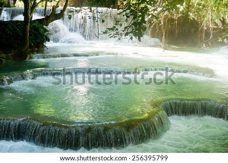 Kuang Si Waterfall near Luang Prabang, Laos - stock photo