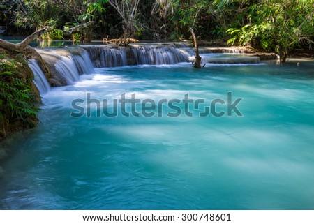 Kuang Si waterfalls at Luangprabang Laos - stock photo