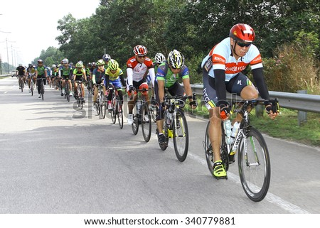 Kuantan, 7 July 2015 : KUANTAN160 is an open road cycling event covering 160km around the city of Kuantan and Pekan. The first event managed to attract 850 local and international riders - stock photo